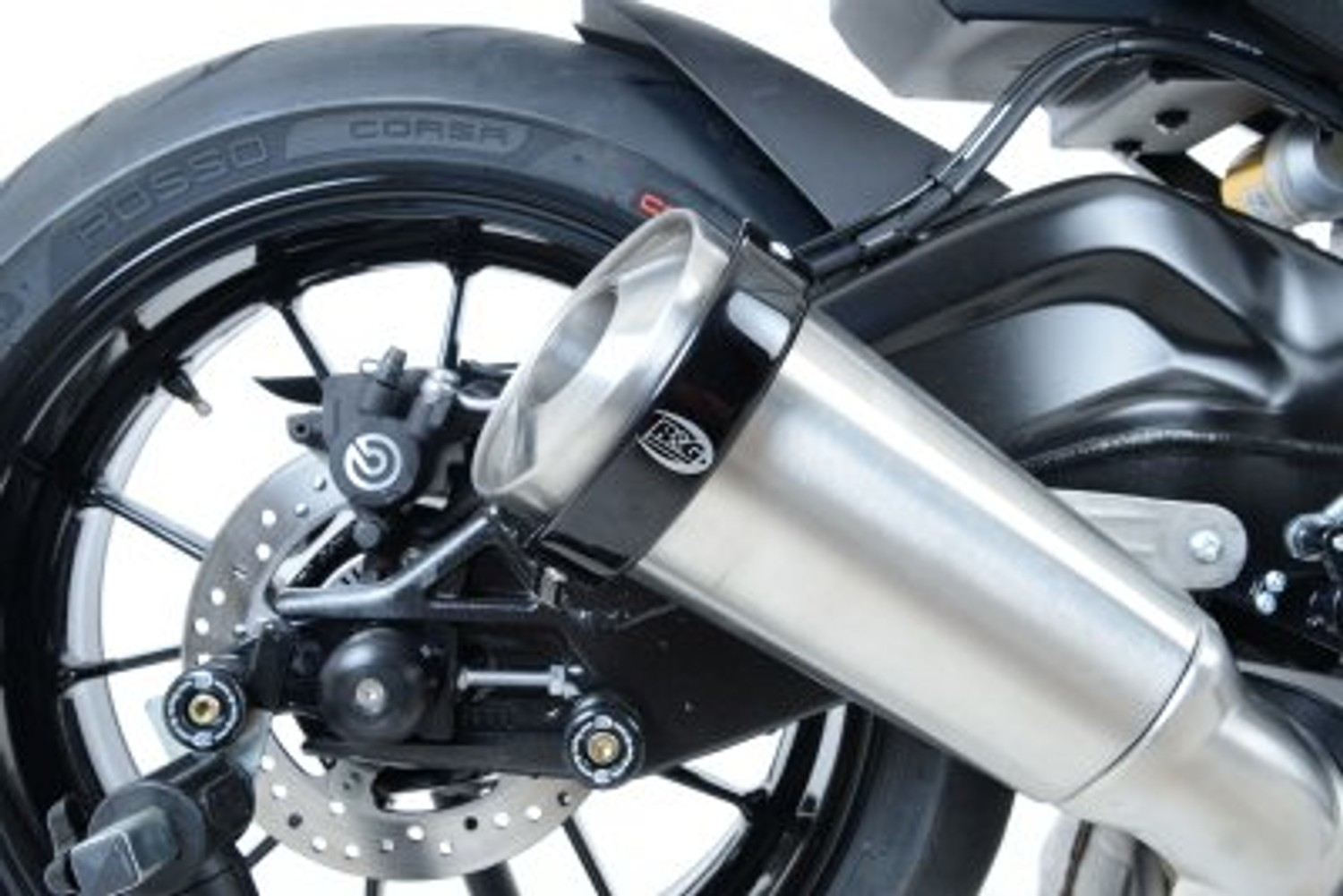 MOTORCYCLE R/&G RACING Oval Exhaust Protector Can Cover Triumph Speed Triple 2014